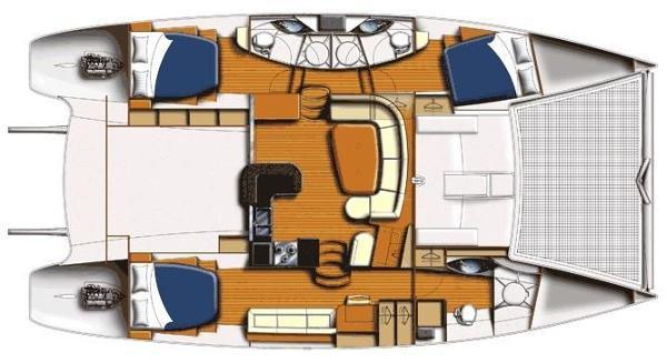 Yacht layout, note the two guest rooms on 1 side of hull, private each with bathroom