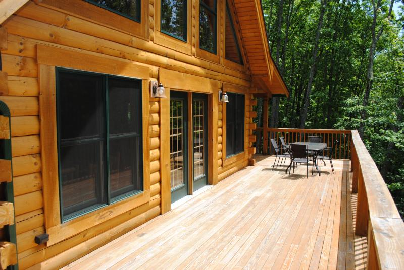 The very spacious front deck. Great for entertaining or just to enjoy nature