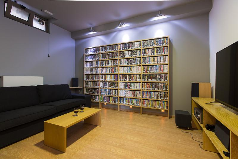 Cinema room with 1,500 movie library including DVD for children and Playstation 4