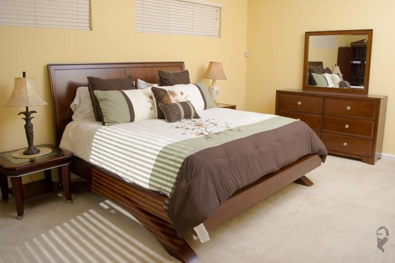 Master Bedroom has new king size bed with a dresser so you have plenty of room to unpack.