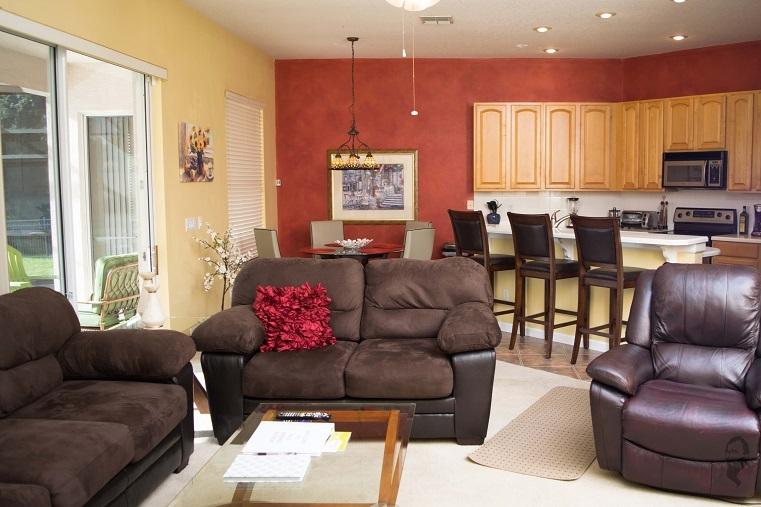 Family room is open to the kitchen and breakfast areas.  There is plenty of comfortable seating.