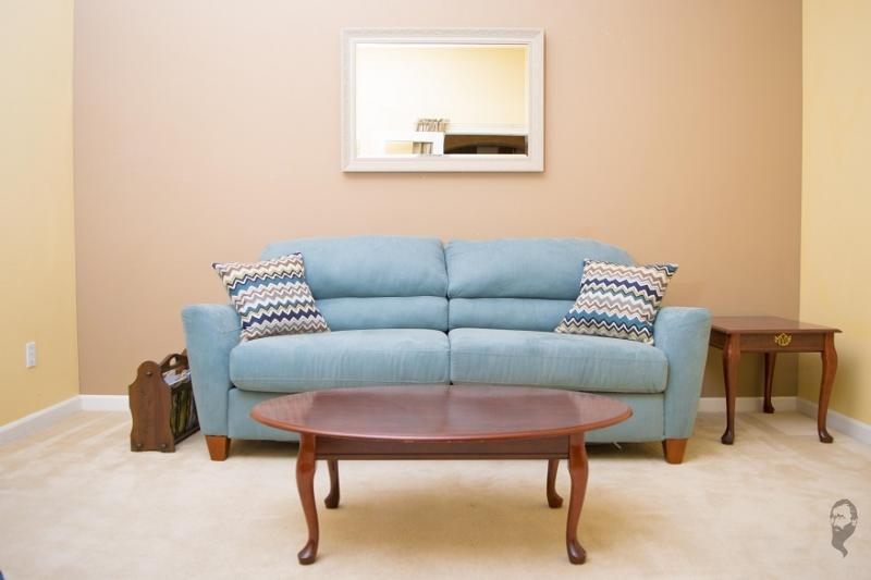 Fold out queen bed in living room.