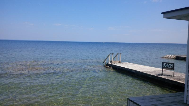 A view of beautiful Lake Simcoe from the side of the boathouse