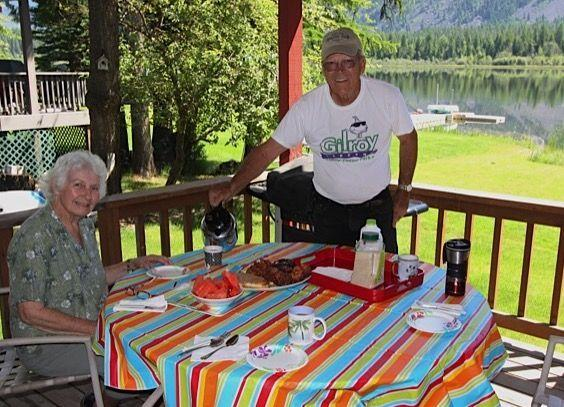 Bob and Jessie having breakfast on the porch