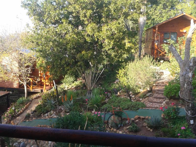 We have 2 beautiful cabins right in town nearby all shops and ostrich farms as well as caves etc.