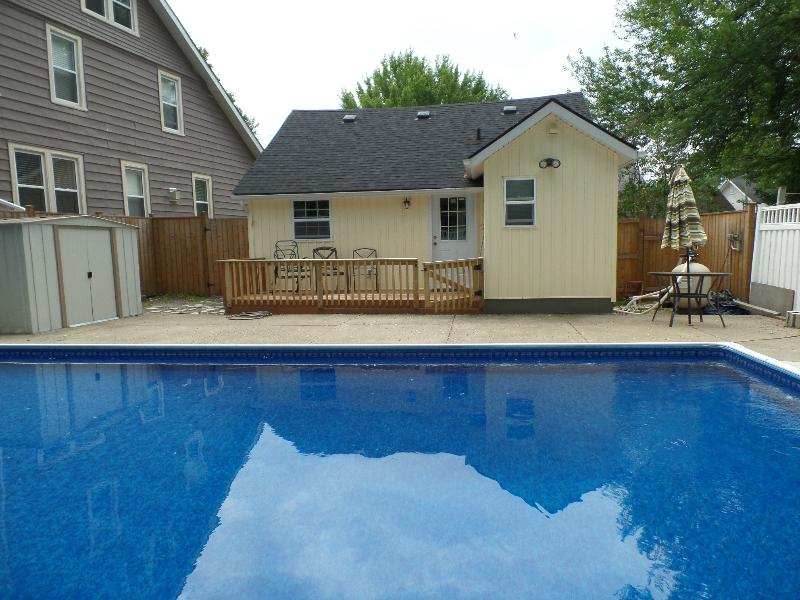 Beautiful, private inground pool (32 x 16) with shallow and deep end.