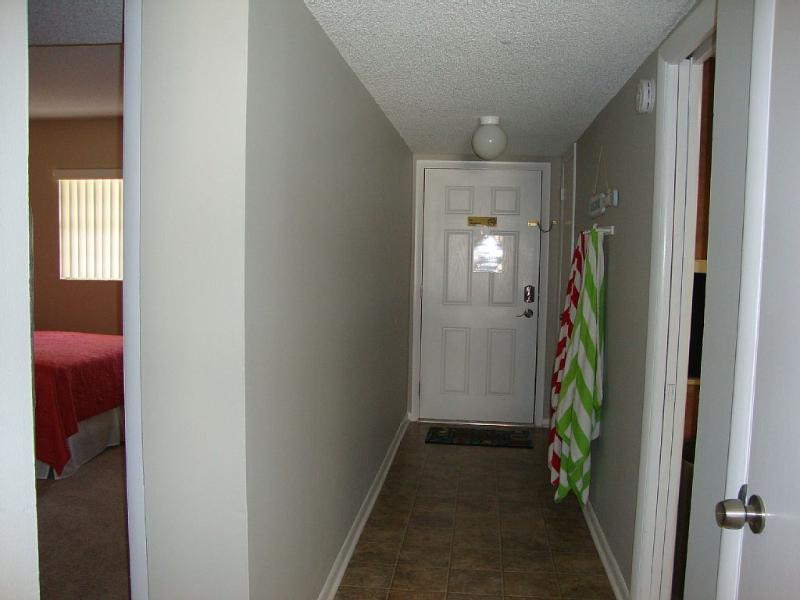 Second bedroom to the left, kitchen to the right