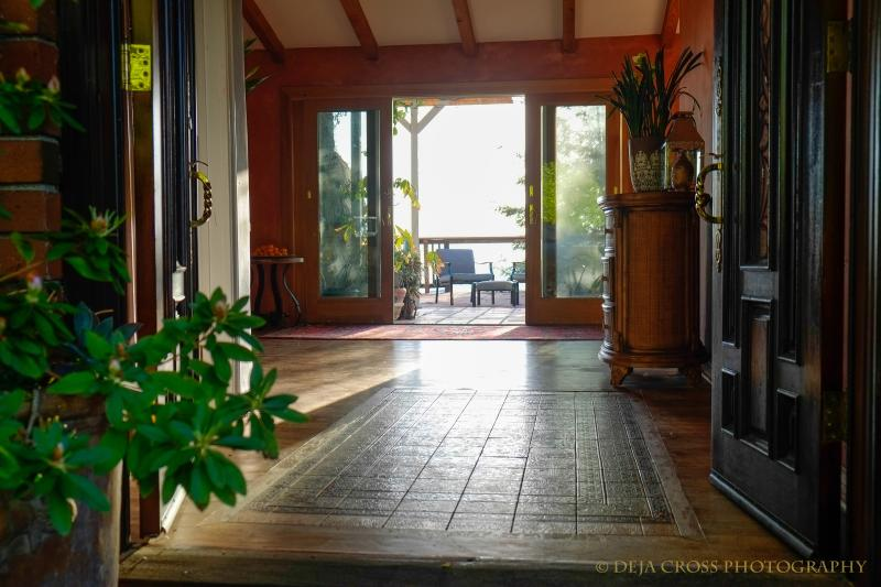 The entrance, you are instantly welcomed by a beautiful antique California tile rug.