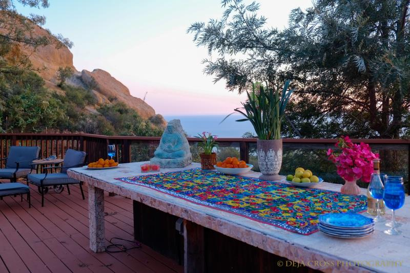 The mosaic table provides an amazing place to eat at dawn or dusk.