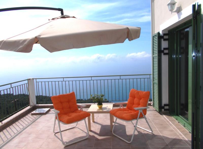 The veranda with captivative view over the Ionion Sea