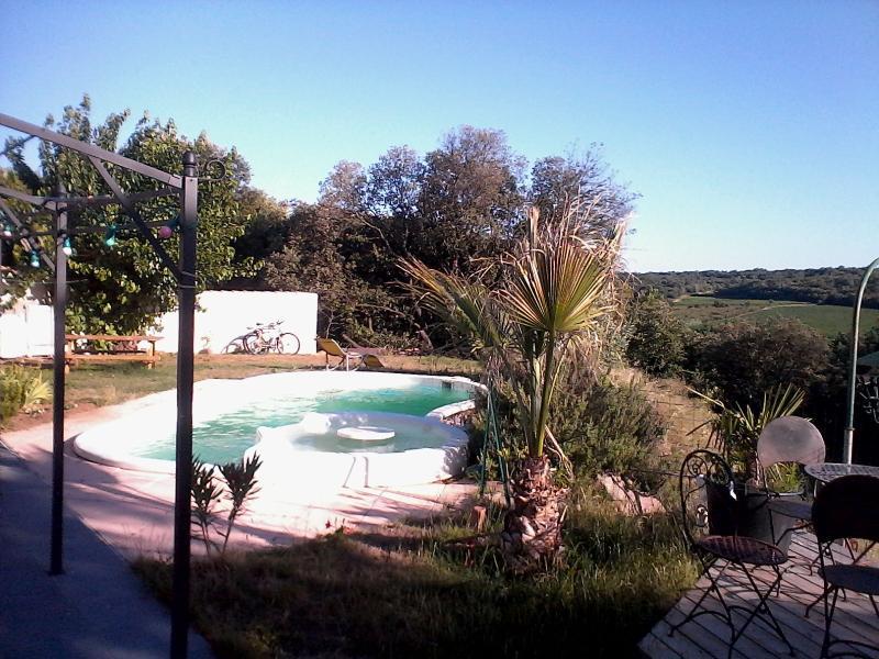 piscine avec spa à bulles ouverte sur un magnifique panorama