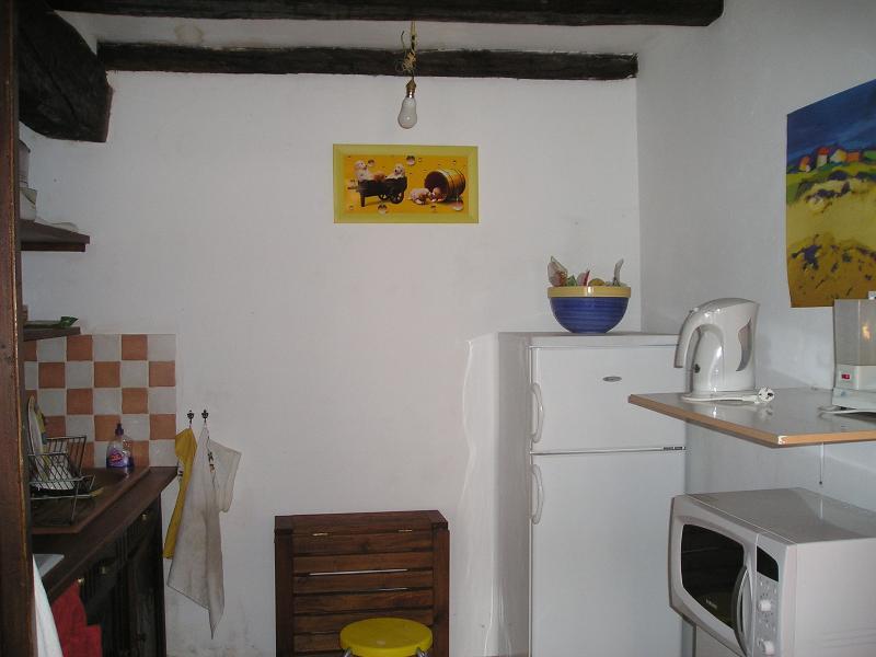 Cozinha (frigorífico com congelador, cafeteira, chaleira, forno Combi, mesa de madeira dobrável)