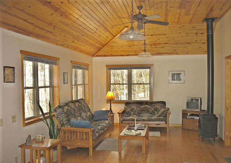 Large windows and a vaulted ceiling in the spacious living area.