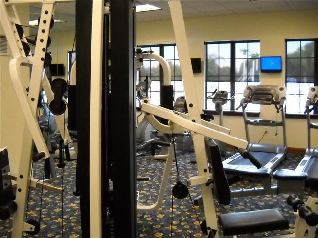 There's plenty of excercise equipment in the fitness room in the Clubhouse.