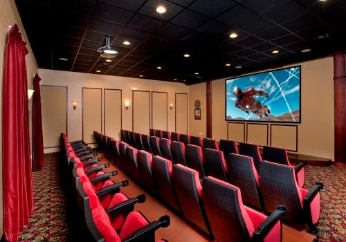 Movies are shown daily in the 50-seat theater. It's also available for small group meetings.