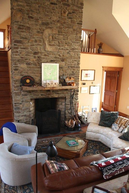 Grand fieldstone fireplace