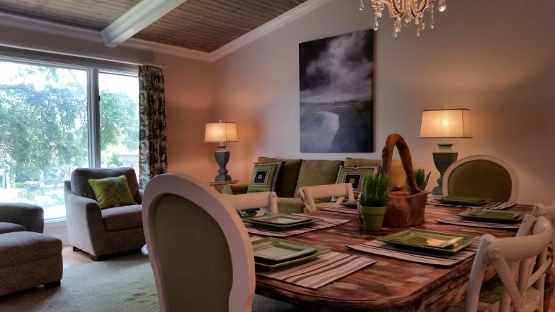 A beautiful gathering space with vaulted ceiling and open plan great room