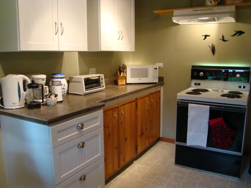Kitchen with fridge, stove, double sink, lots of cupboard space, dishes, utensils and cookware