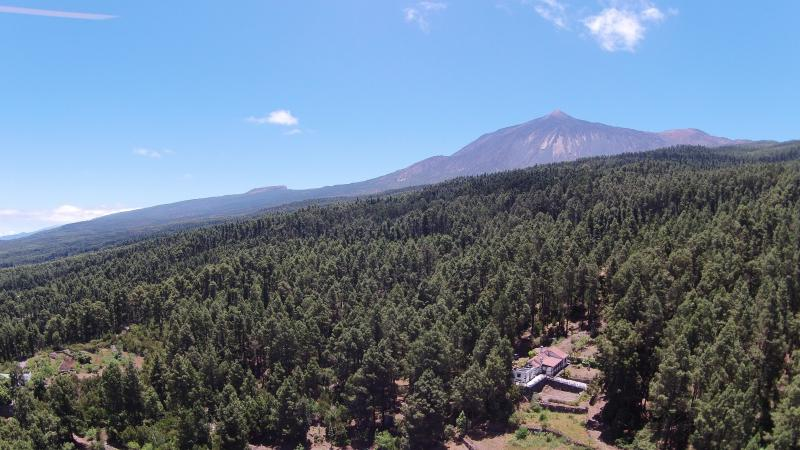 Our house in the lower right corner and El Tiede on the back