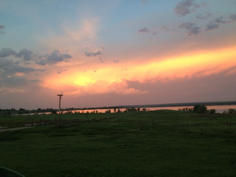 Sunset on thunderheads over the Reservoir. Osprey platform.