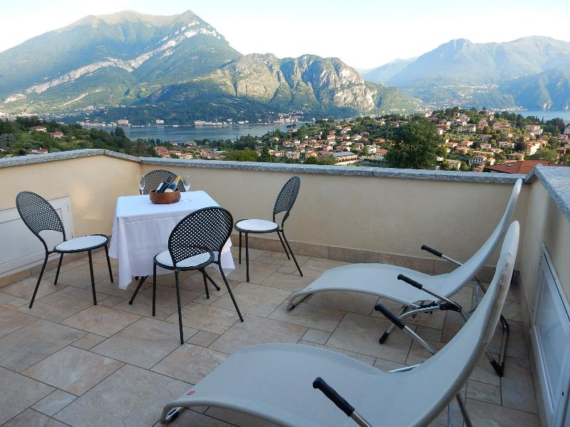 from one of the terraces you can enjoy a magnificent view on the two arms of Lake Como