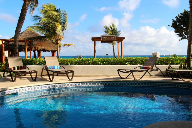 Pool and private palapa on the beach