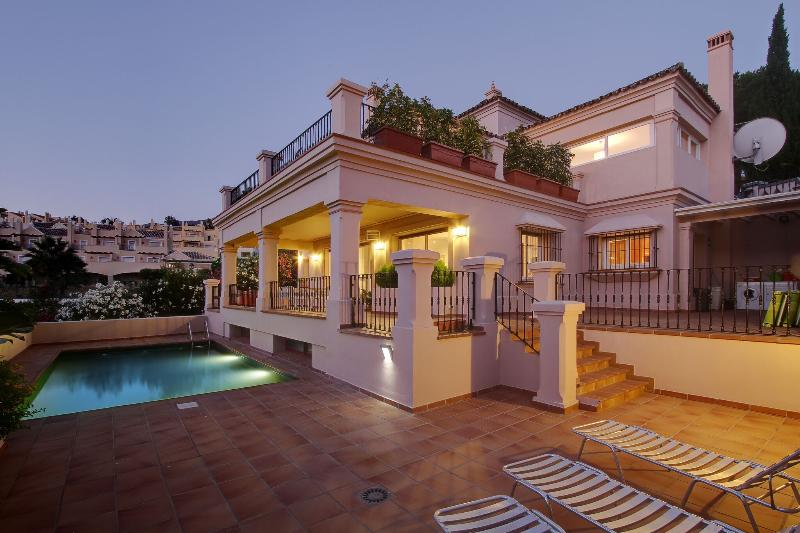 Rere view of Villa showing Sun Bathing, Dining,and Barbeque Terraces + Pool  *****