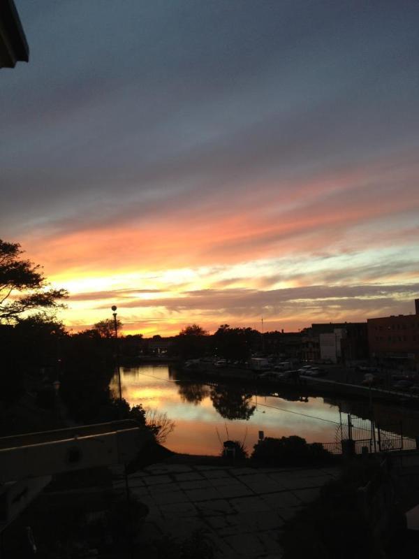 puesta de sol desde el porche