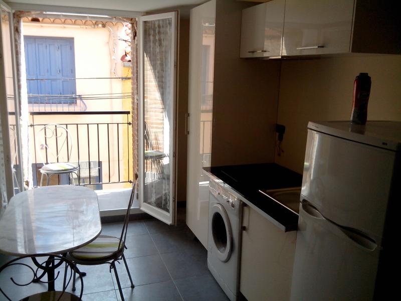 Modern kitchen with balcony