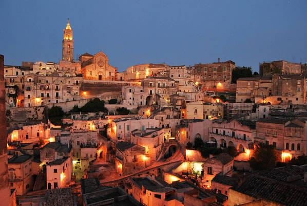 Overview of the Sassi of Matera at dusk