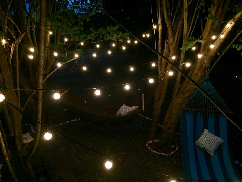 Patio string lights at night.