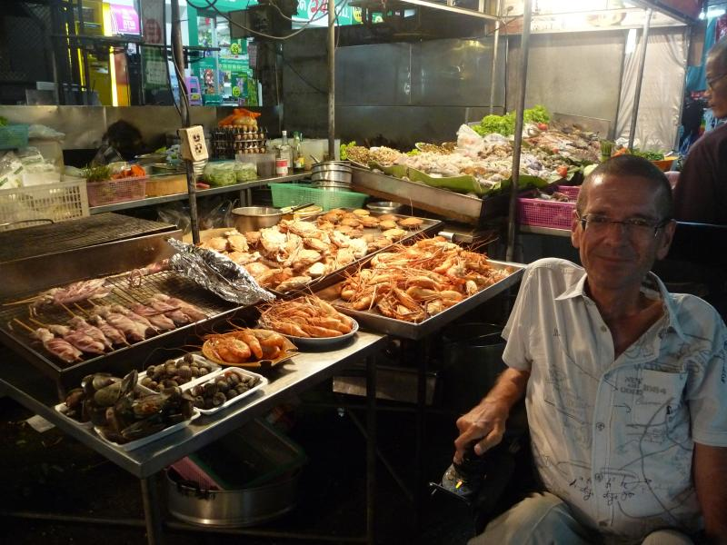 Fresh seafood at night market. Restaurants pop-up every night starting at 5pm.
