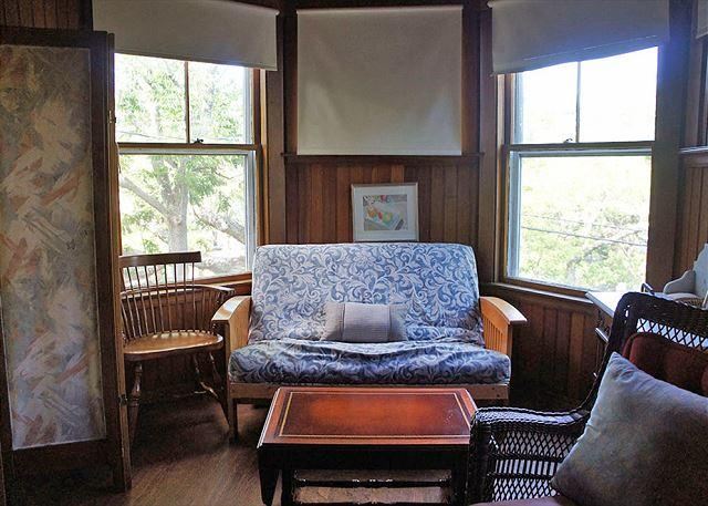Seating area in Queen bedroom (with full-size futon).