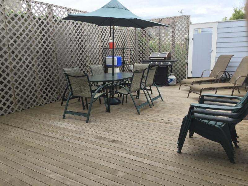 Grande terrasse arrière privée avec douche extérieure