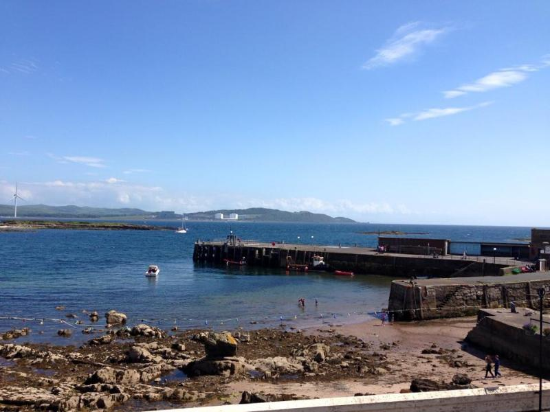Great sea views and beach and harbour views from Millport Beach Apartment, Stuart Street, Millport