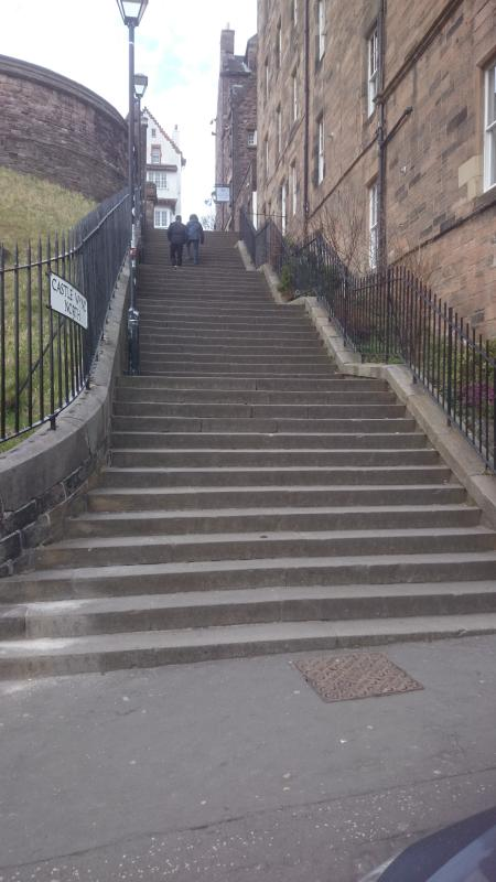 Steps to castle just across the road