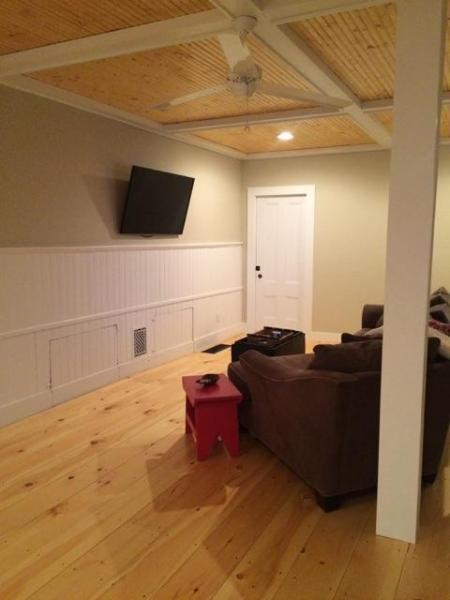 Living Room with Coffered Ceilings 50' TV