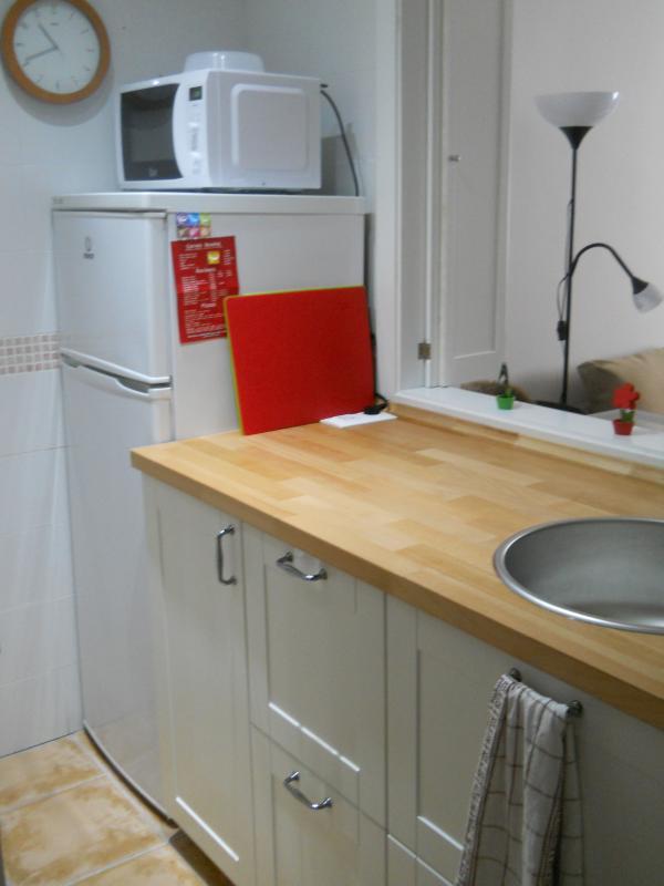 la cuisine est équipée avec réfrigérateur, micro-ondes, cafetière, grille-pain, induction, etc.