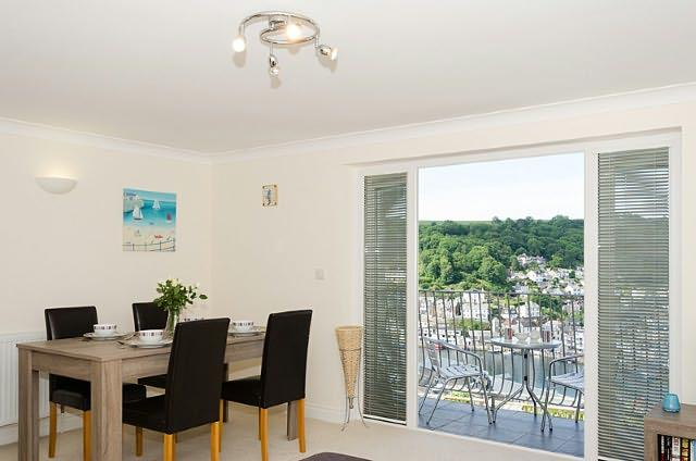 Open plan kitchen, dining room and lounge with stunning views of Looe river