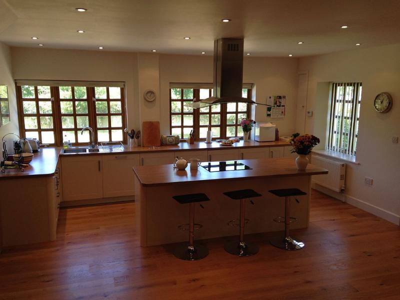 Kitchen area with breakfast bar