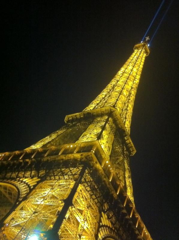 The Eiffel Tower illuminate at night, and every hour it flickers in the sky with thousands of stars!
