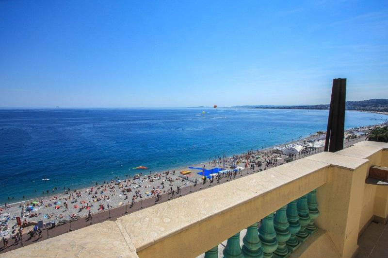 view from terrace of the beach and the bay of Nice