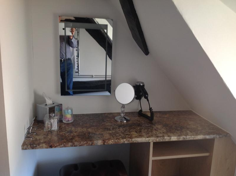 Vanity unit with hair dryer and make up mirror