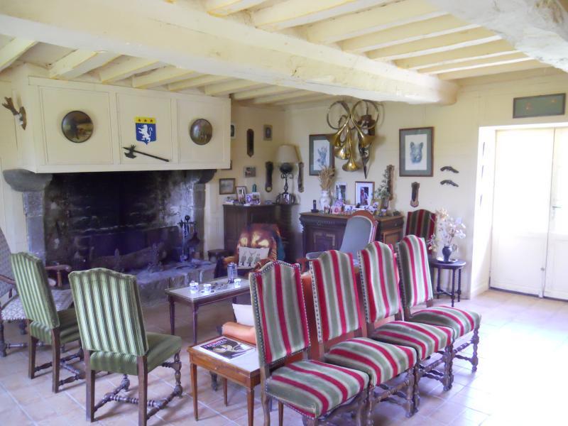 Sala de estar con chimenea monumental