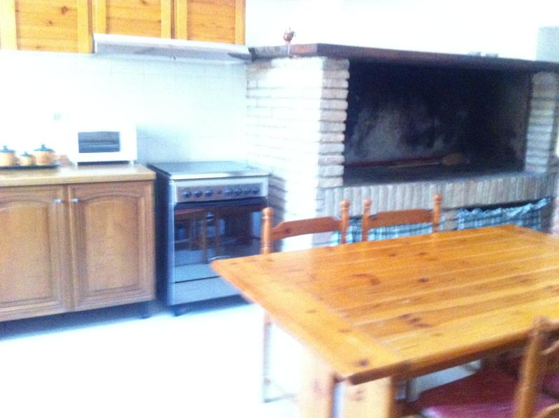 large kitchen with fireplace and traditional wood oven