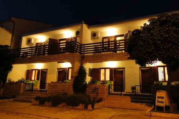 Front of the house at night