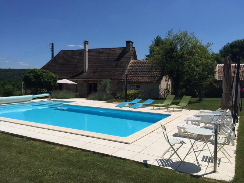 Pool and house. Sunbeds are provided for all occupants, plus two large parasols