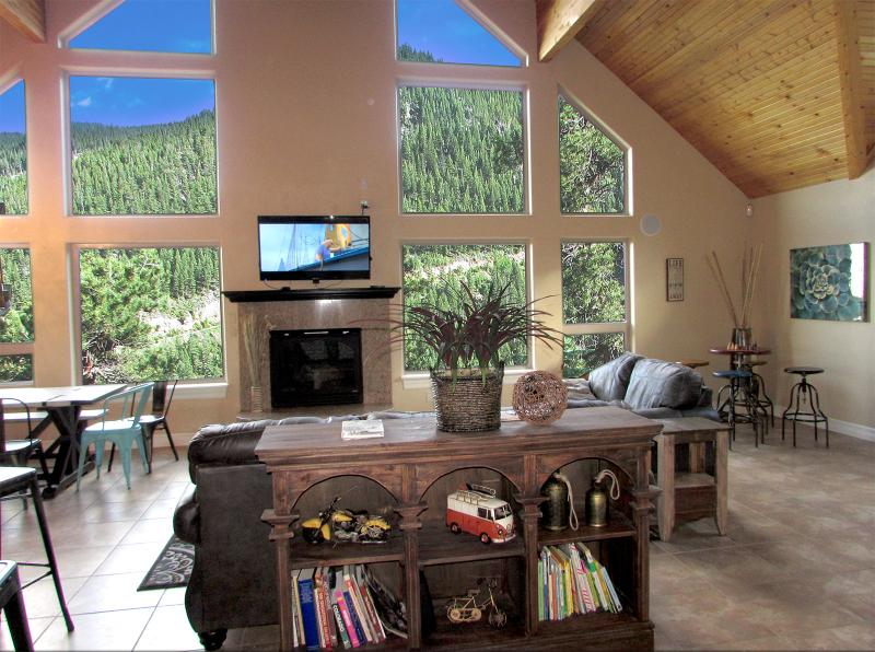 Unbelievable view from huge family room with 30 foot ceiling and tall windows