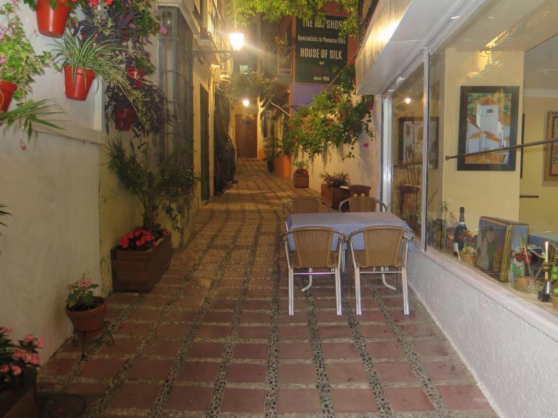 Narrow and beautiful street of the old town of Marbella.Less than 100 m away