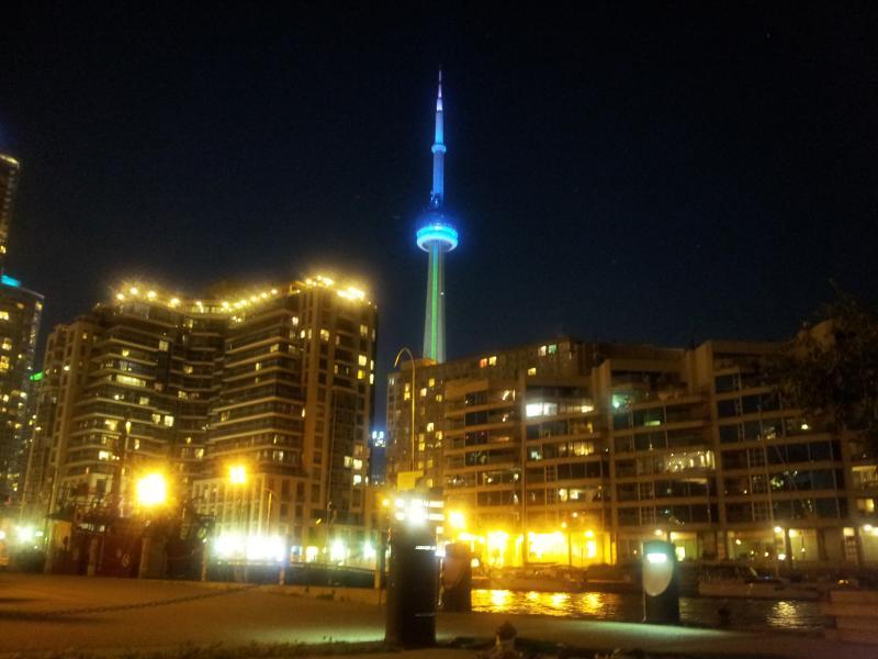 Nacht uitzicht op de CN Tower en de binnenstad van Toronto